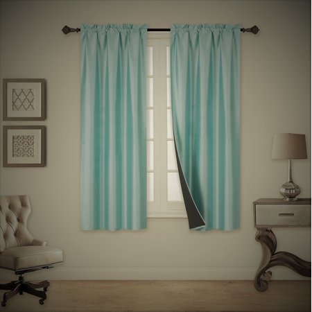 "TOM TEAL BLUE 2-Piece 100% Blackout Room Darkening Rod Pocket Window Curtain with Black Foam Backing Set, Solid Thermal Lined Panels 35"" x 63"" Each"
