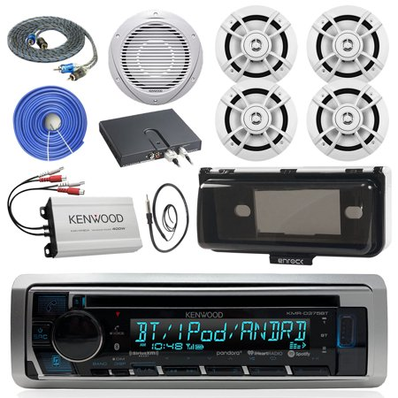 - Kenwood KMRD375BT Marine Audio Bluetooth CD Player Receiver W/ Cover - Bundle With 4x 6.5