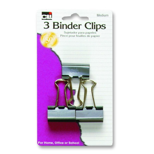 Charles Leonard Co. Binder Clips, Medium, 1-1/4'', 3/PK, Black/Steel