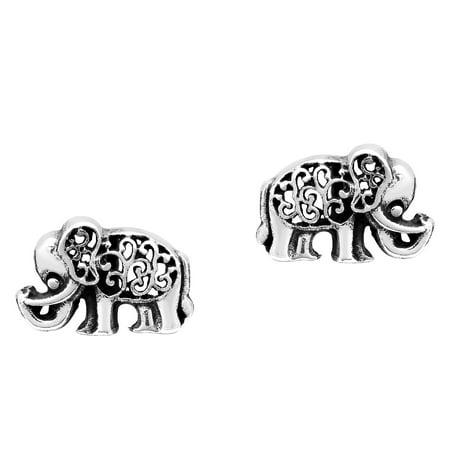- Elaborate Elephants Swirl Accents Sterling Silver Post Stud Earrings
