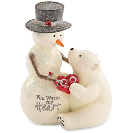 Christmas Snowman Figurine (Pavilion - You Warm My Heart Snowman and Polar Bear Figurine Winter Christmas)