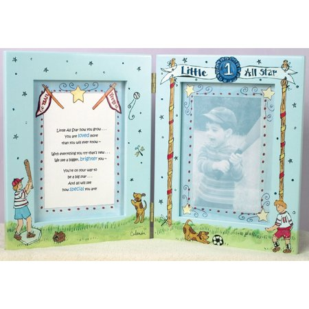 Cute as a Button - Little All Star Baseball/Dog 7x9 Picture Frame - Star Photo Frame
