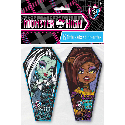 Monster High Note Pad Party Favors, 6ct