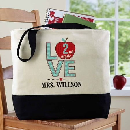 Personalized Love Teacher Tote Bag - Personalized Teacher Bags