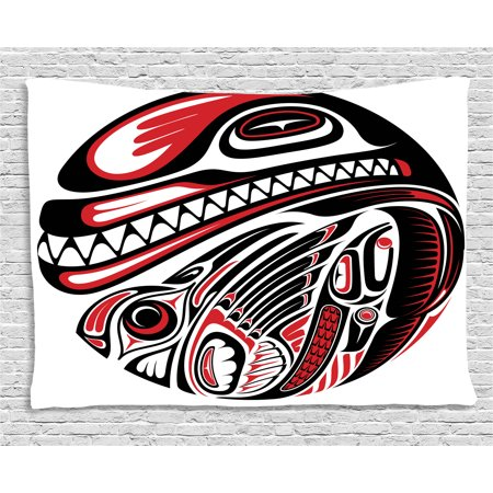 Tribal Decor Tapestry, Haida Style Animal Art Wild Indian Eagle and Killer Dog with Sharp Teeth, Wall Hanging for Bedroom Living Room Dorm Decor, 60W X 40L Inches, White Red Black, by Ambesonne