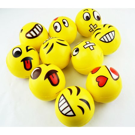 "3"" Squeeze Punch Pitch Throw Catch Bounce Rubber PU Ball Emoji Face Emoticon Puffy Value Random 10 Pack Cute Gift Decor"