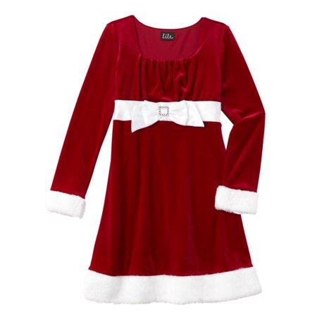 Girls Red Velvet Faux Fur Satin & Rhinestone Santa Dress Christmas (The Girl In The Red Velvet Swing 1955)