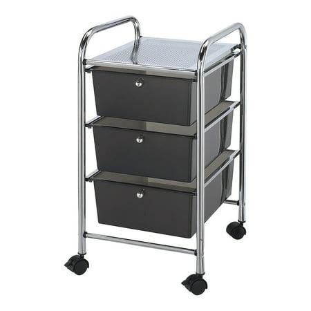 Fun Express - Rolling Storage Cart W/3 DrawerS-Smoke - Craft Supplies - Scrapbooking - Storage - 1 Piece Rolling Storage Cart W/3 DrawerS-Smoke - Craft Supplies - Scrapbooking - Storage - 1 Piece