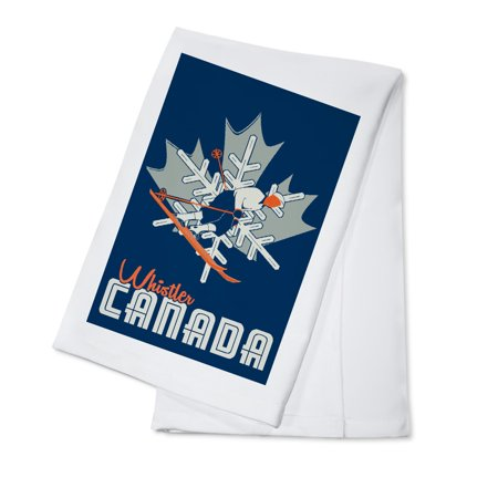 Snowflake Dishes (Whistler, British Columbia, Canada - Snowflake & Skier - Lantern Press Artwork (100% Cotton Kitchen)