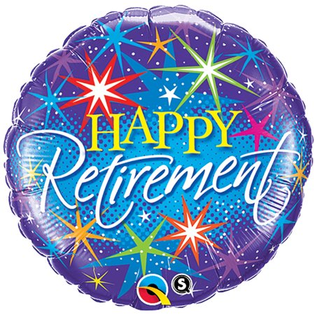 Qualatex Happy Retirement Colorful Burst Stars 18