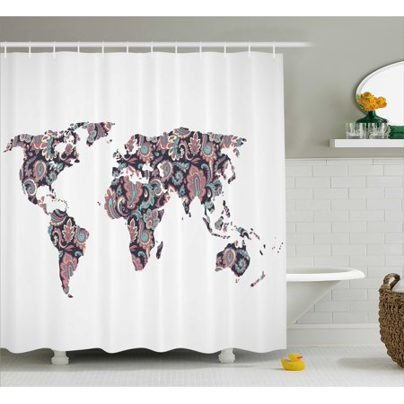 Floral World Map Shower Curtain Paisley Leaves Ornamental Eastern Style Old Fashioned Design Fabric