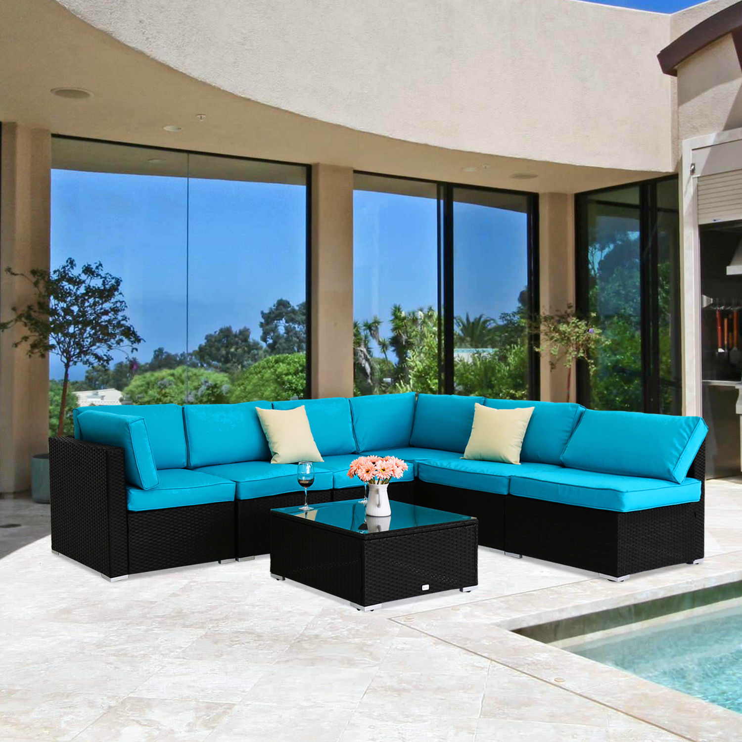 Kinbor 7pcs Outdoor Patio Furniture Sectional Pe Wicker Rattan Sofa Set by Kinbor