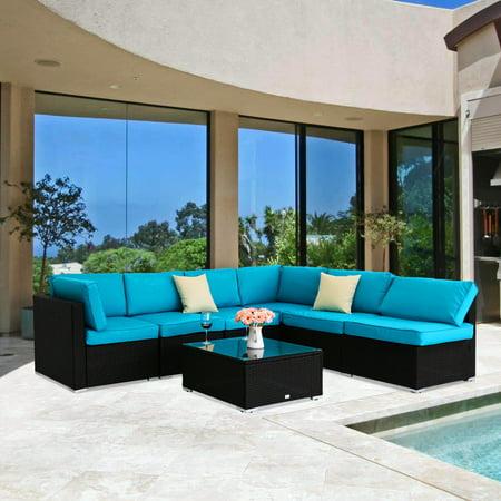 Kinbor 7pcs Outdoor Patio Furniture Sectional Pe Wicker