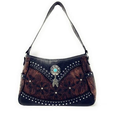 Western Tooled Leather Laser Cut Concealed Carry Feather Country Shoulder Handbag Deep Red Leather Handbag