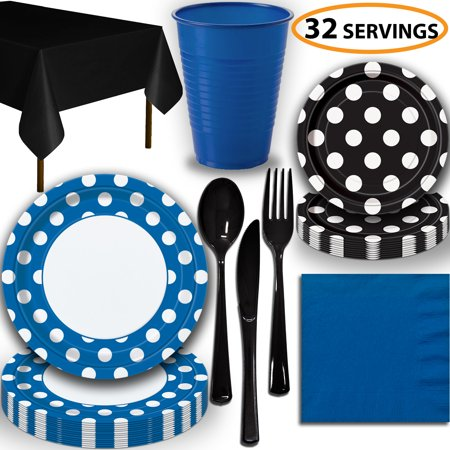 Disposable Tableware, 32 Sets - Royal Blue and Midnight Black Dots - Dinner Plates, Dessert Plates, Cups, Lunch Napkins, Cutlery, and Tablecloths:  Party Supplies Set](Halloween Cut And Paste Projects)