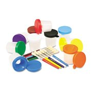 Creativity Street 5104 No-Spill Cups & Coordinating Brushes- Assorted Colors- 10/Pack