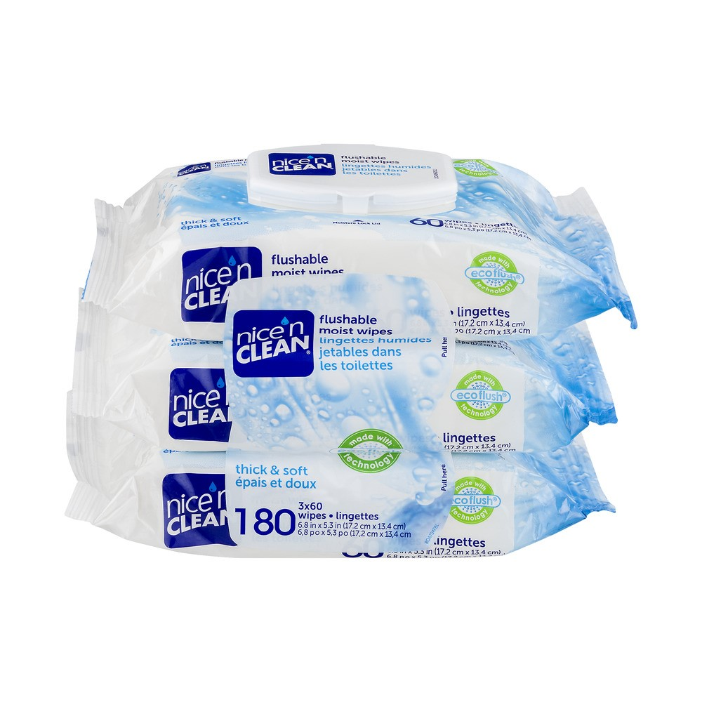 Nice 'n Clean Thick & Soft Flushable Moist Wipes, 180 Count