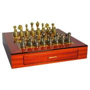 Staunton Metal Chess Set on Inlaid Rosewood Chest