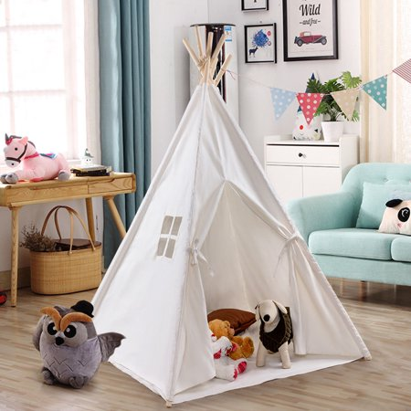 Gymax Portable Play Tent Teepee Children Playhouse Sleeping Dome w/Carry Bag](Kid Play Tents)