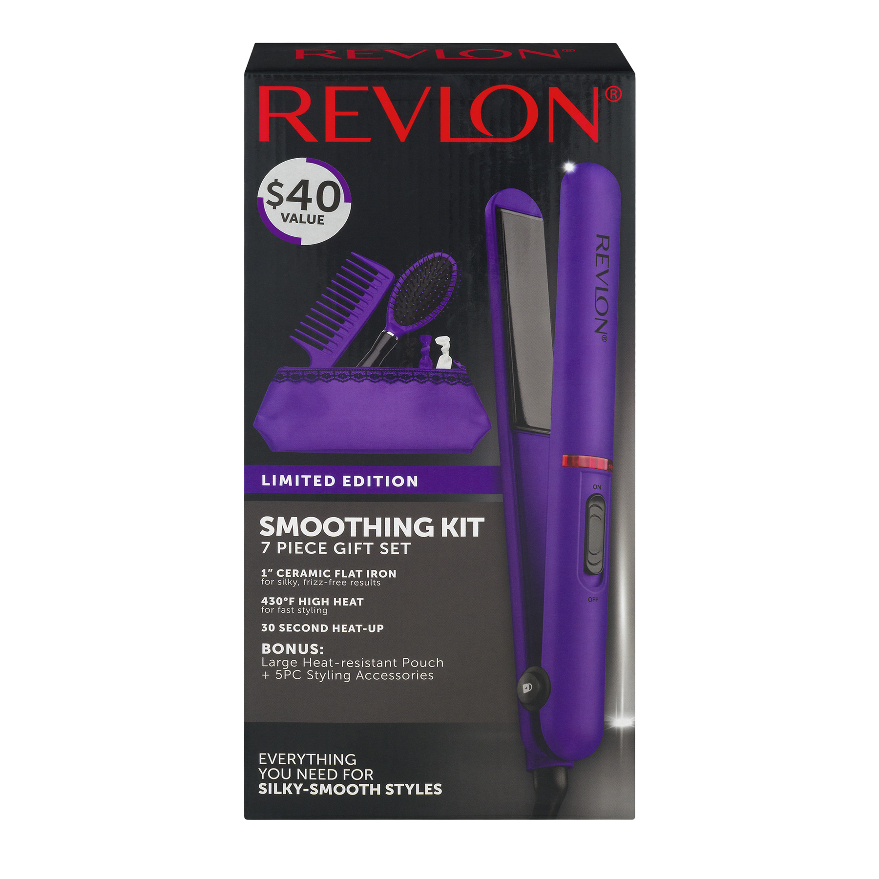 Revlon Flat Iron Straightening and Smoothing Kit, Purple 7 Piece Gift Set Limited Edition