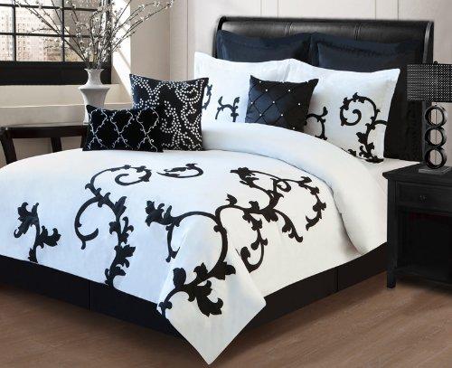 Kinglinen 9 Piece Queen Duchess Black and White Comforter...