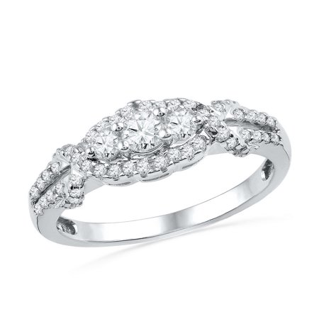 Size - 7 - Solid 10k White Gold Round White Diamond Engagement Ring OR Fashion Band Channel Set 3 Stone Shaped Halo Ring (1/2 cttw) (3 Stone Half Bezel)