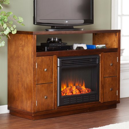 Southern Enterprises Brentford Dark Tobacco Electric Fireplace Media Console