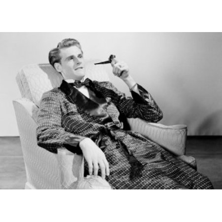 Man smoking pipe in armchair Canvas Art - (18 x 24)