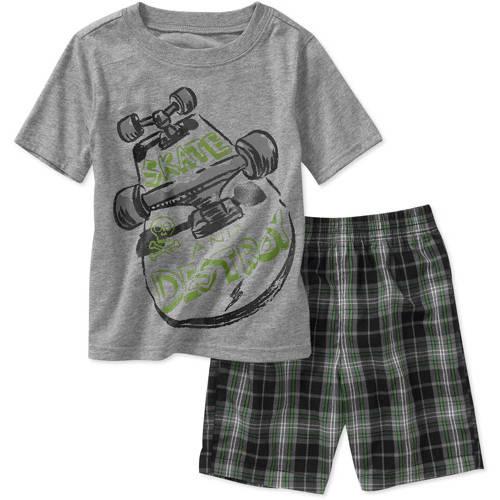 Healthtex Baby Boys' 2-Piece Plaid Short and GraphicTee Set