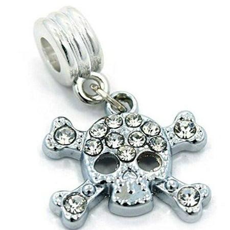 Skull & Crossbones Dangle European Bead Compatible for Most European Snake Chain Bracelet ()