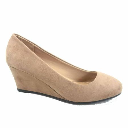 Womens Black Wedge Heels (Doris-21 Women's Causal  Round Toe  Low Wedge Heel Shoes)