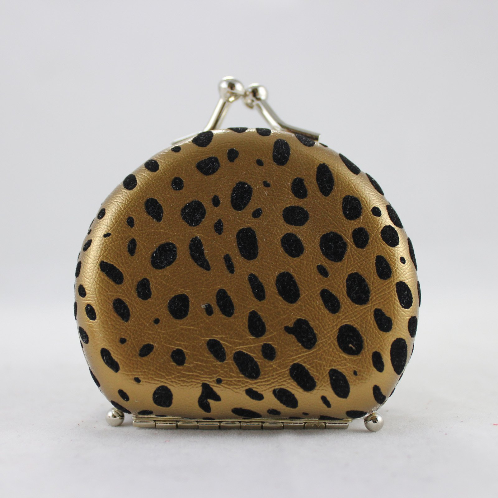Round Leopard Print Jewelry Travel Case - Gold - 2.6L x 2.2W in.