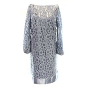 Laundry By Shelli Segal NEW Blue Womens Size 8 Shift Floral-Lace Dress $245