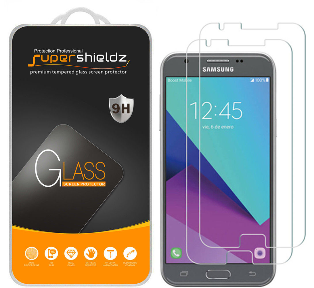 [2-Pack] Supershieldz Samsung Galaxy J3 Emerge Tempered Glass Screen Protector, Anti-Scratch, Anti-Fingerprint, Bubble Free