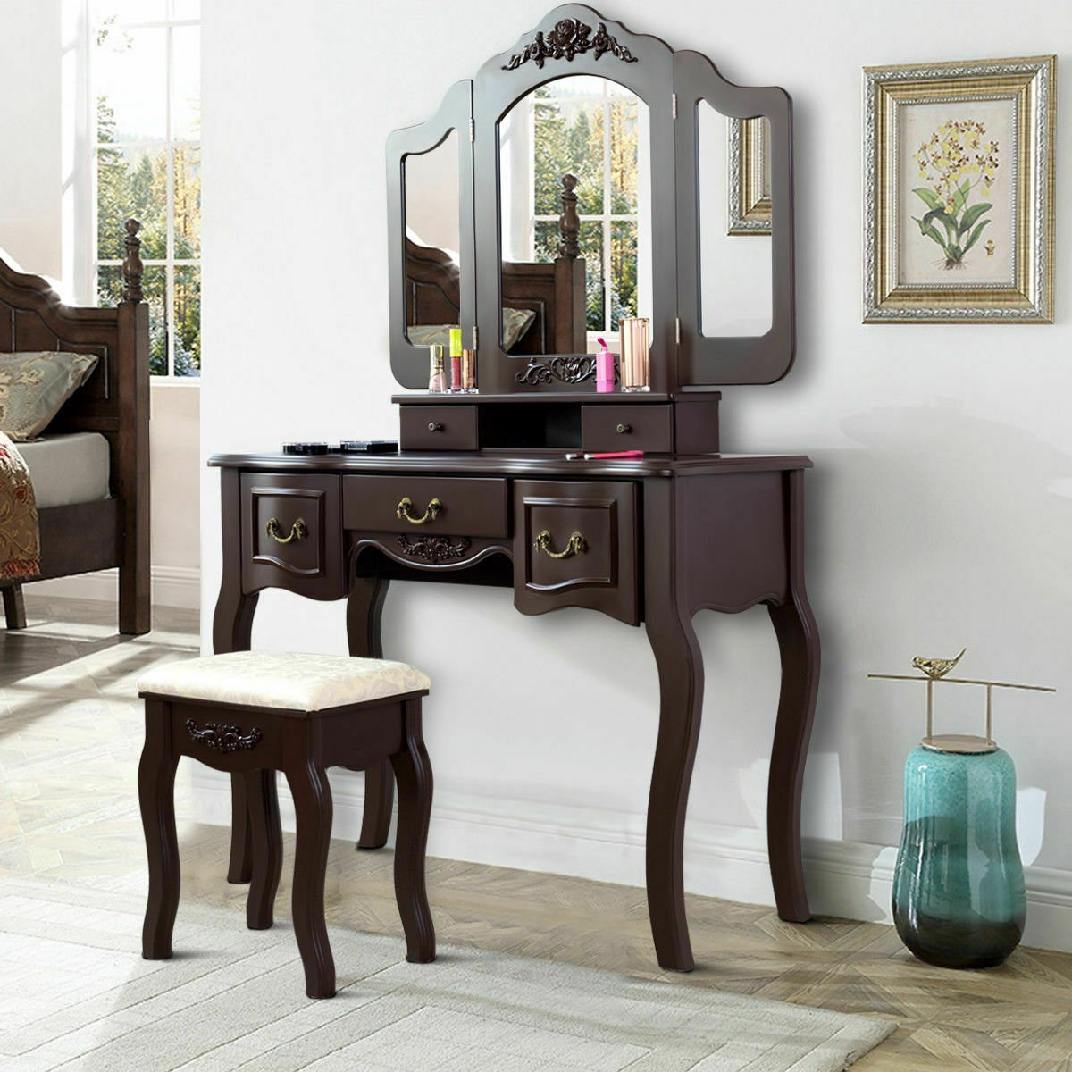 new style f1fdc e8b1c Tri Folding Vintage Makeup Dressing Table Vanity Set 5 Storage Drawers Brown