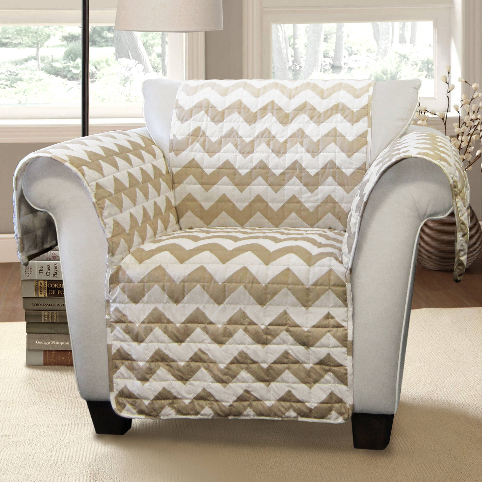 Chevron Furniture Protectors, Taupe Arm Chair