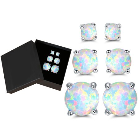 Gold Plated White Fire Opal Stud Earrings - 3pcs (Designer Tourmaline Earrings)