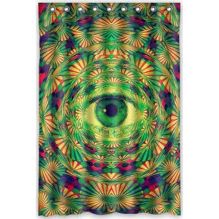 GreenDecor Trippy Psychedelic Waterproof Shower Curtain Set With Hooks Bathroom Accessories Size 48x72 Inches