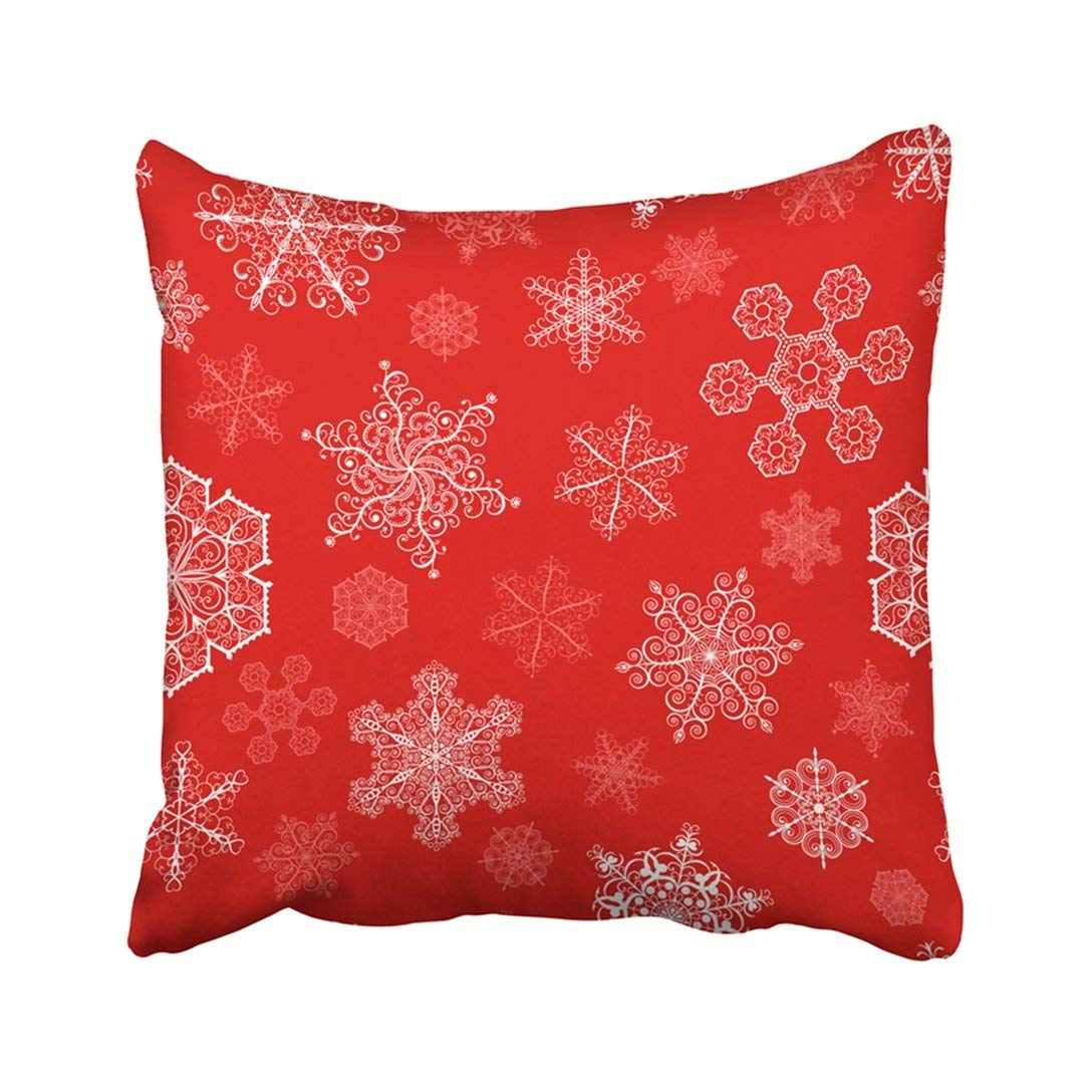 WOPOP Holiday Christmas With Big And Small White Snowflakes On Red Winter Year Abstract Artistic Pillowcase Throw Pillow Cover Case 20x20 inches