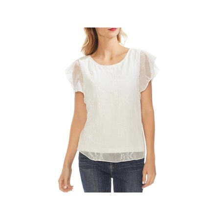 Vince Camuto Womens Eyelet Embroidered Pullover Top