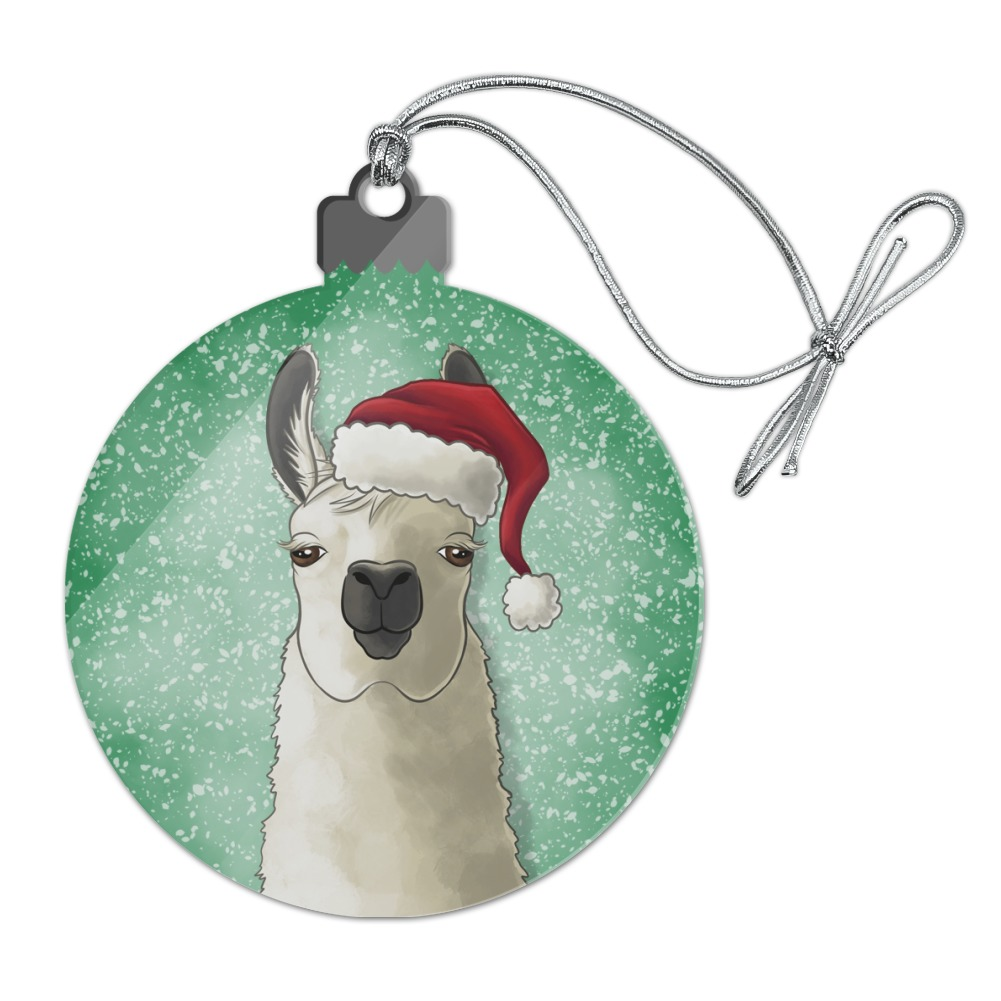 Fa La La La Llama Christmas Santa Hat Acrylic Christmas Tree Holiday Ornament