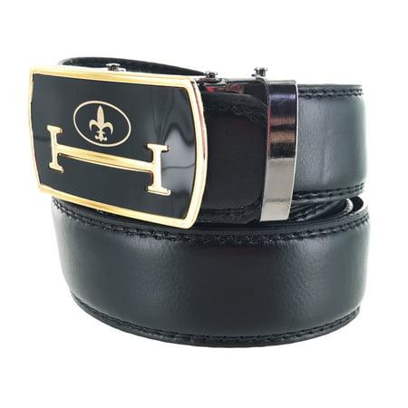 Faddism Men's Leather Dark Formal Plate Buckle Belt Meister Collection