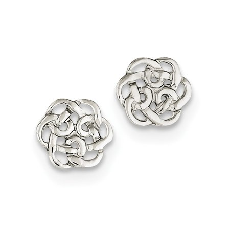 925 Sterling Silver Polished Celtic Knot Post Earrings (10mm x 9mm)