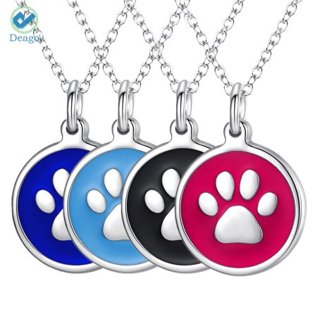 Deago Stainless Steel Pet Id Tags Personalized Dog Footprint Tags With Necklace Stylish Fun