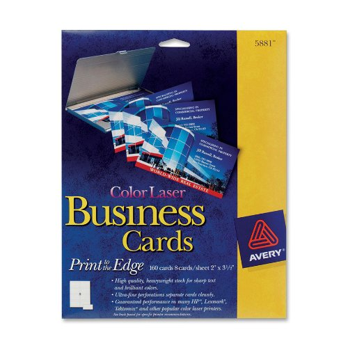 "Avery Business Card - 2"" X 3.50"" - 160 / Pack - White (AVE5881)"