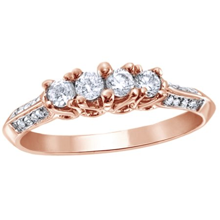 Round Cut White Natural Diamond Cluster Four Stone Ring in 10k Rose Gold (0.33 Cttw)