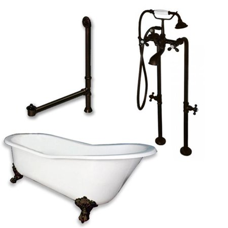 Cast Iron Slipper Clawfoot Tub, Oil Rubbed Bronze - 61 x 30 in.