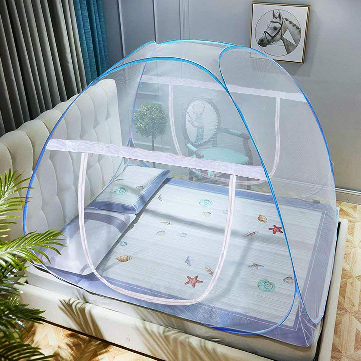 P op-Up Mosquito Net Tent Bed Net Anti Mosquito Bites Folding Design with Net Bottom for Babys Adults Trip 79 x71x59 inch