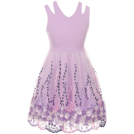Little Girl Sleeveless 3D Flowers Embroidered Easter Summer Flower Girl Dress Lilac 4 JKS 2115 BNY Corner
