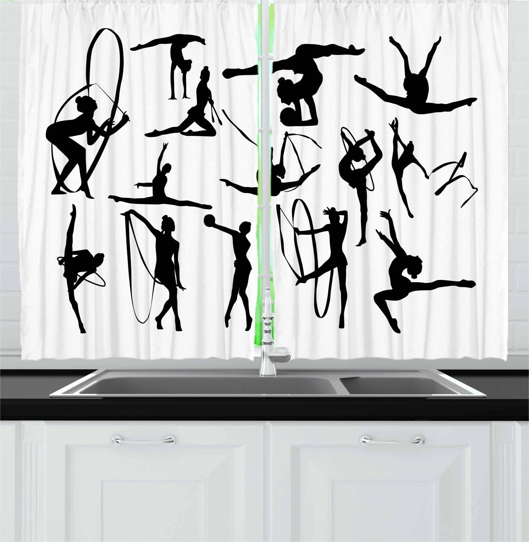 Gymnastics Curtains 2 Panels Set Olympic Athlete Silhouettes Aerobics Themed Monochrome Ribbon Dancing Women Window Drapes For Living Room Bedroom 55w X 39l Inches Black White By Ambesonne Walmart Com Walmart Com